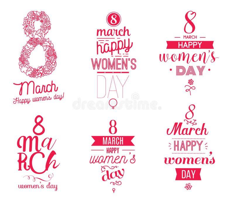Typografisk designuppsättning för åtta marsch Lyckliga kvinnors dag vektor illustrationer