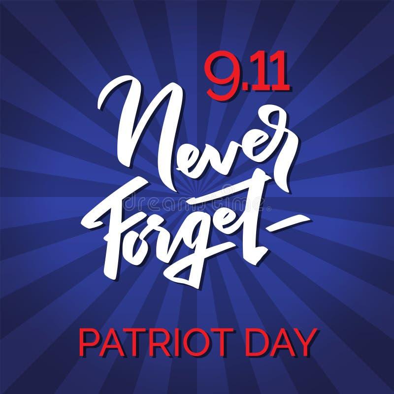 Typografisk emblem för patriotdag glöm aldrig, 9-11 vektor illustrationer