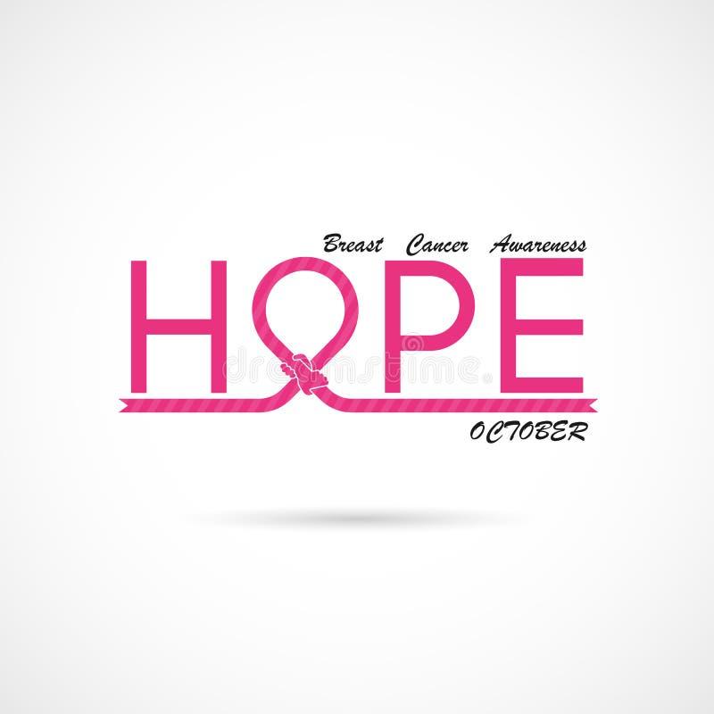 Typografisk hopp Hoppordsymbol Aktion för månad för bröstcancerOktober medvetenhet stock illustrationer