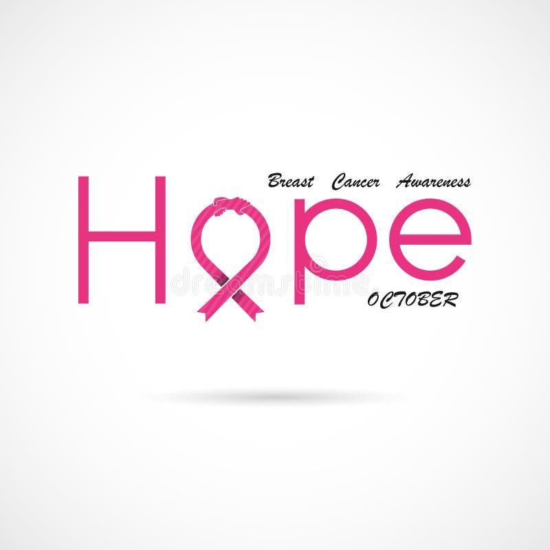 Typografisk hopp Hoppordsymbol Bakgrund för aktion för månad för bröstcancerOktober medvetenhet royaltyfri illustrationer