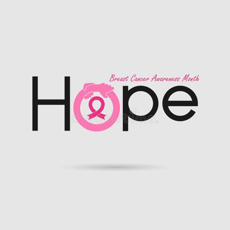Typografisk `-hopp` Hoppordsymbol Bakgrund för aktion för månad för bröstcancerOktober medvetenhet royaltyfri illustrationer