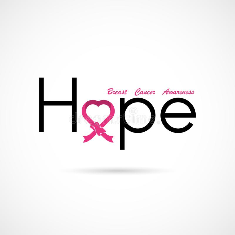 Typografisk hopp Hoppordsymbol Bakgrund för aktion för månad för bröstcancerOktober medvetenhet vektor illustrationer
