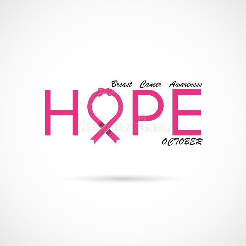 Typografisk hopp Hoppordsymbol Bakgrund för aktion för månad för bröstcancerOktober medvetenhet stock illustrationer