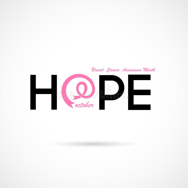 Typografisk hopp Hoppordsymbol BröstcancerOktober medvetenhet royaltyfri illustrationer