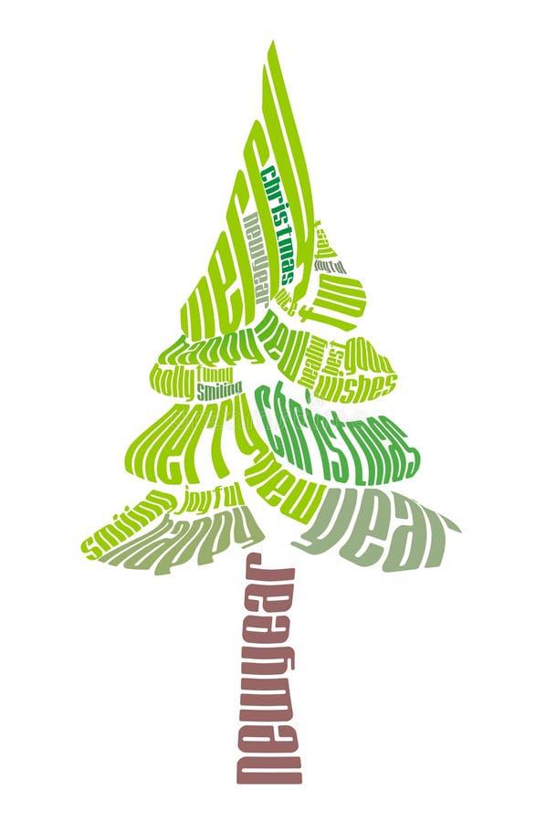 typografisk jultree vektor illustrationer