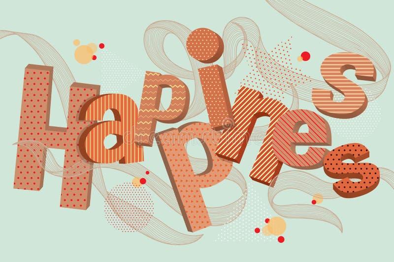 Typografisk lycka 3D stock illustrationer