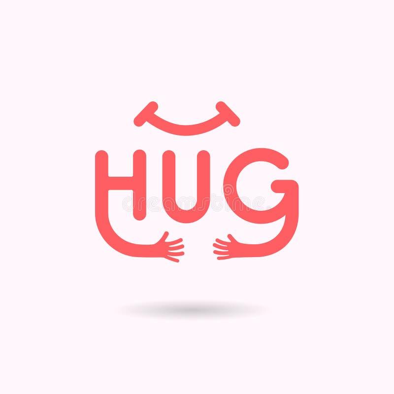 Typografisk och handsymbol KRAM Design för logo för omfamning- eller kramsymbolsvektor Kram- och för förälskelse själv symbol man vektor illustrationer