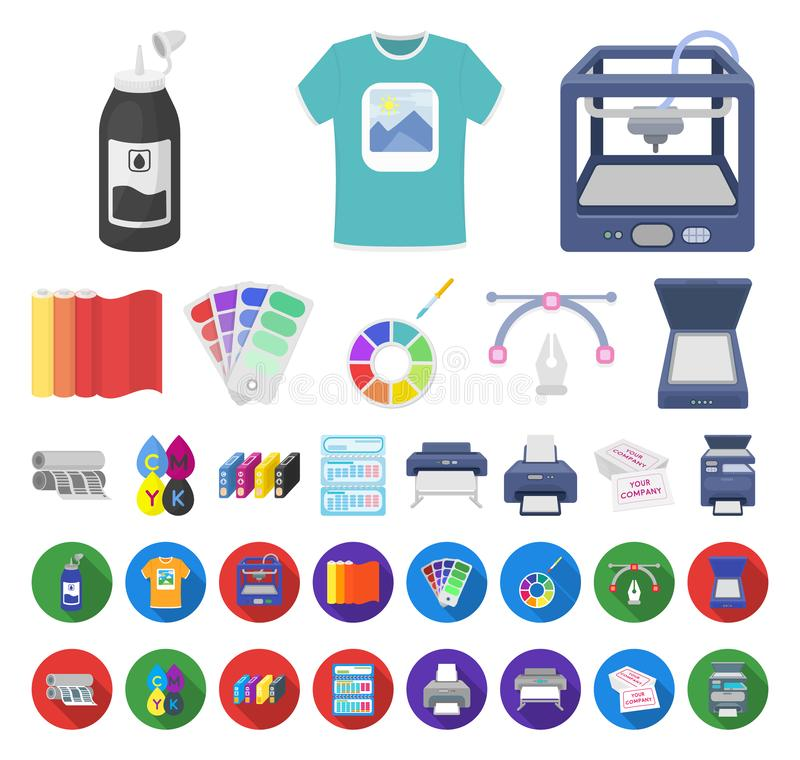 Typografisk produkttecknad film, plana symboler i den fastställda samlingen för design Printing och rengöringsduk för materiel fö stock illustrationer
