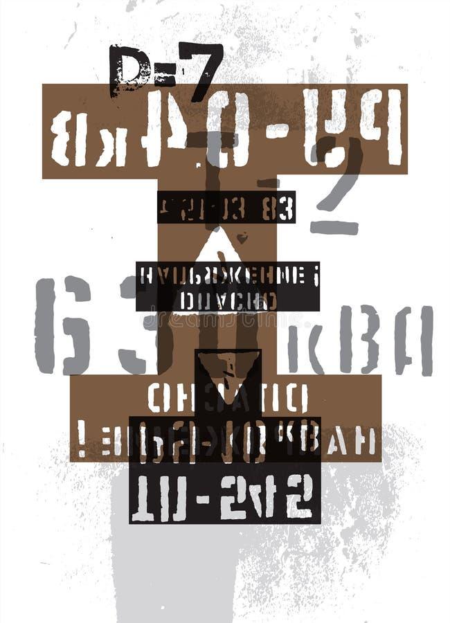 Typografisk retro grungeabstrakt begreppbakgrund med tecken också vektor för coreldrawillustration royaltyfri illustrationer