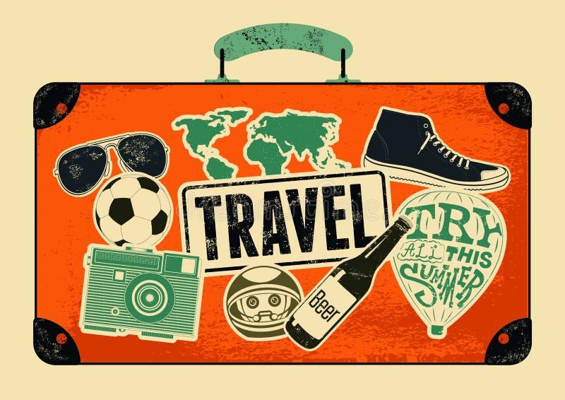 Typografisk retro grungeloppaffisch Gammal resväska för tappningdesign med etiketter också vektor för coreldrawillustration royaltyfri illustrationer