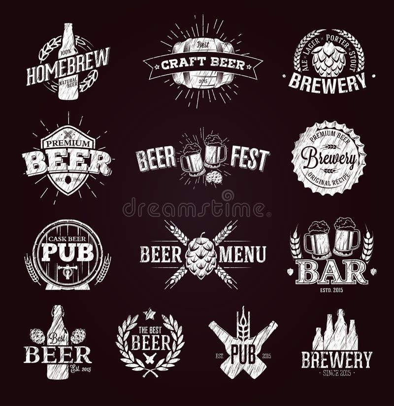 Typografiska öletiketter och logoer stock illustrationer
