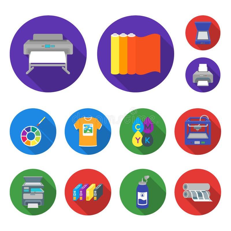 Typografiska produkter sänker symboler i uppsättningsamlingen för design Printing och rengöringsduk för materiel för utrustningve stock illustrationer
