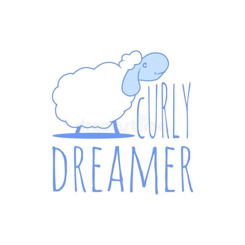 typografislogan med den gulliga illustrationen för lockig drömmare för får och för text grafiska Meddelandemodeslogan för T-tröja stock illustrationer