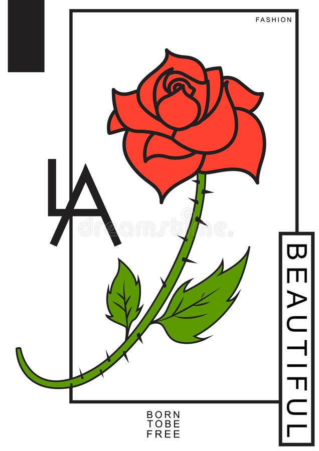 Typografislogan med rosen h?rligt kvinna f?r affisch f?r modemodell Design f?r T-tr?ja royaltyfri illustrationer