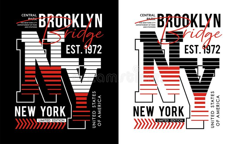 Typografitappning för NY Brooklyn, för t-skjorta och dräkt, tryckmän, vektorer royaltyfri illustrationer