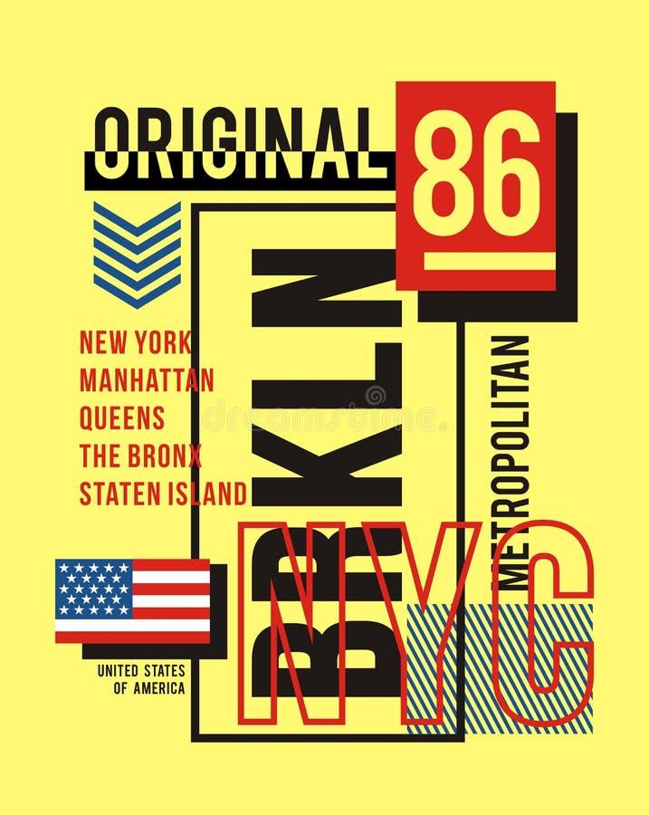 Typografitappning för NYC Brooklyn, för t-skjorta och dräkt, tryckmän, vektorer stock illustrationer