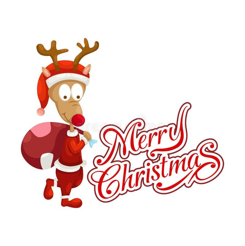Typografivektor för hjortar och för glad jul vektor illustrationer