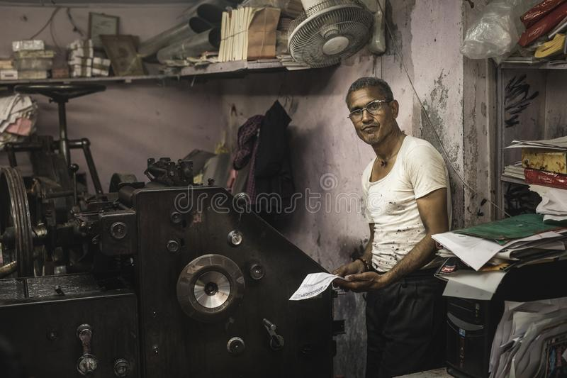 Typographer in an old lab in Jaipur, india stock photo
