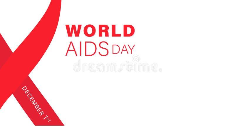 Typographi del Día Mundial del Sida Ejemplo del concepto con la cinta roja en el fondo blanco 1 de diciembre templete del Día Mun ilustración del vector