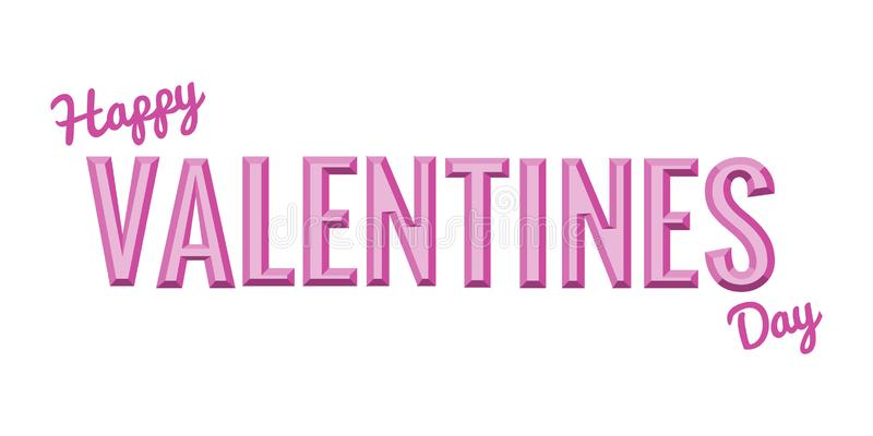 Typographiac happy valentines day. Volume letters in word valentine. Different shades of pink stock illustration