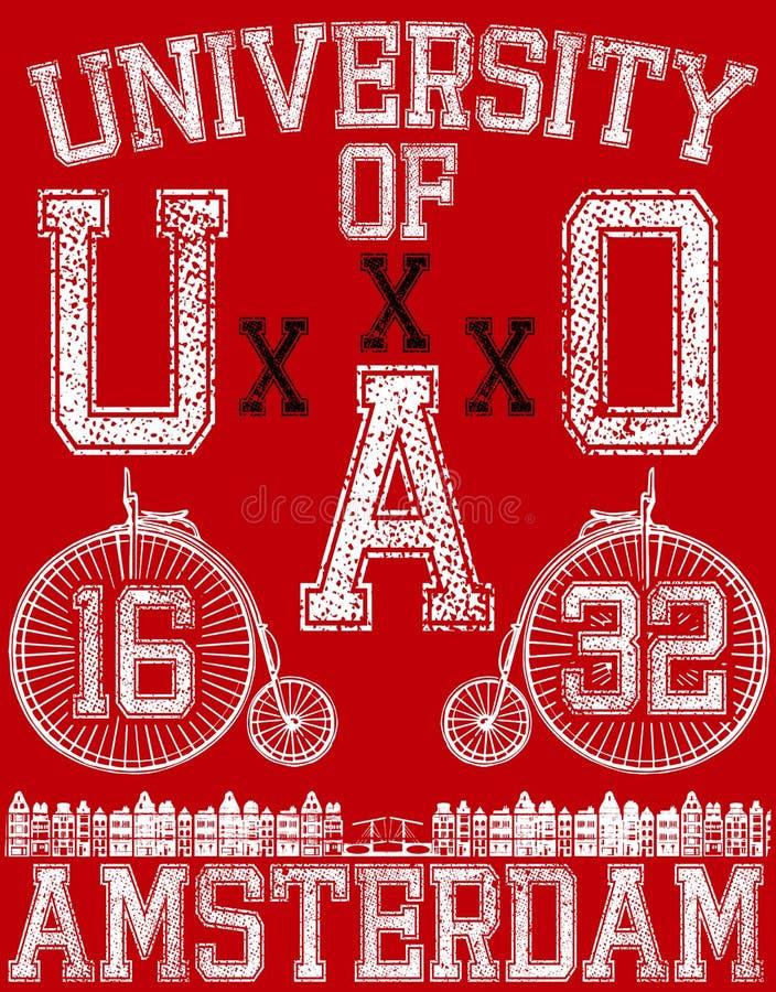 Typographic Amsterdam City Poster Design. Fashion style royalty free illustration