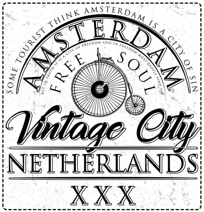Typographic Amsterdam City Poster Design. Fashion style vector illustration