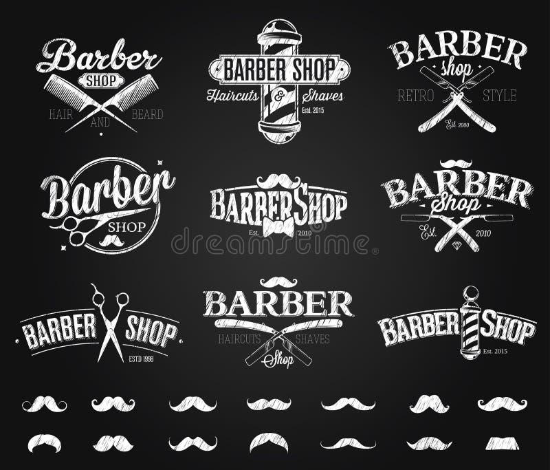 Typographic Barber Shop Emblems chalk drawing. Vintage style vector illustration