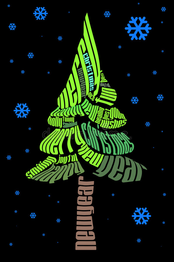 Download Typographic Christmas tree stock illustration. Image of smiling - 1396215