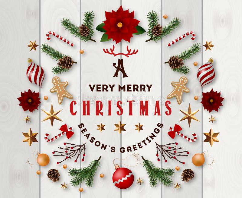 Typographic composition of christmas Postcard with vintage label and Christmas wishes decorated with Festive Elements. stock illustration