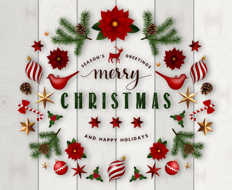 Typographic composition of christmas Postcard with vintage label and Christmas wishes decorated with Festive Elements. vector illustration