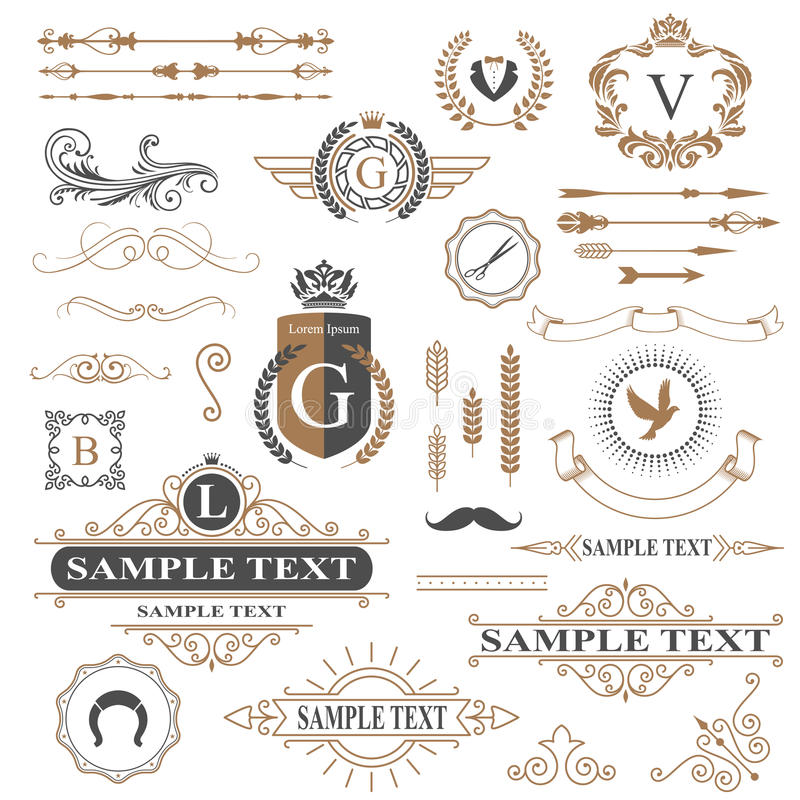 Typographic design elements. In vector royalty free illustration