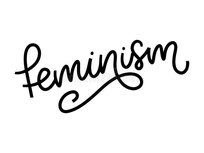 Typographic design. feminism letter. Graphic element. Typography lettering design. Woman motivational slogan. Feminism slogan. royalty free illustration