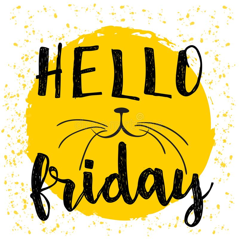 Download typographic design poster in black white and yellow hello friday lettering