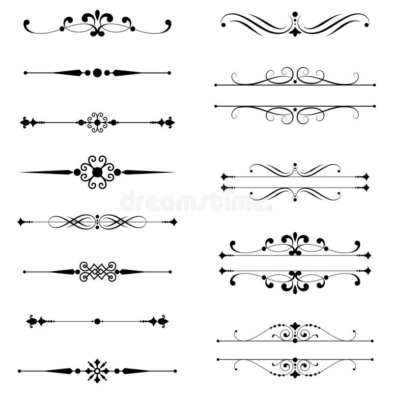 Line Art Text : Typographic ornaments rule lines stock vector