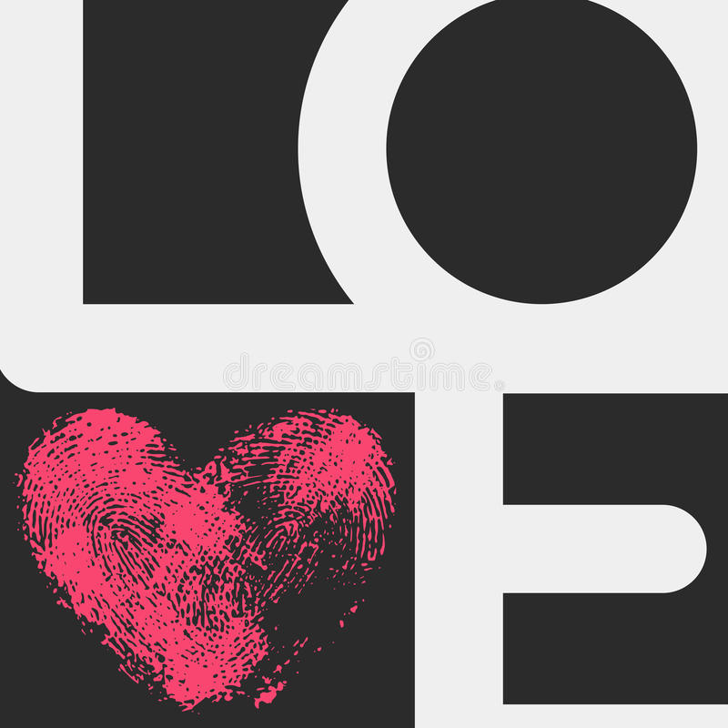 Typographic poster with LOVE inscription stock illustration