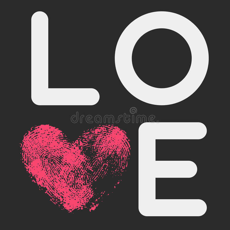 Typographic poster with LOVE inscription vector illustration
