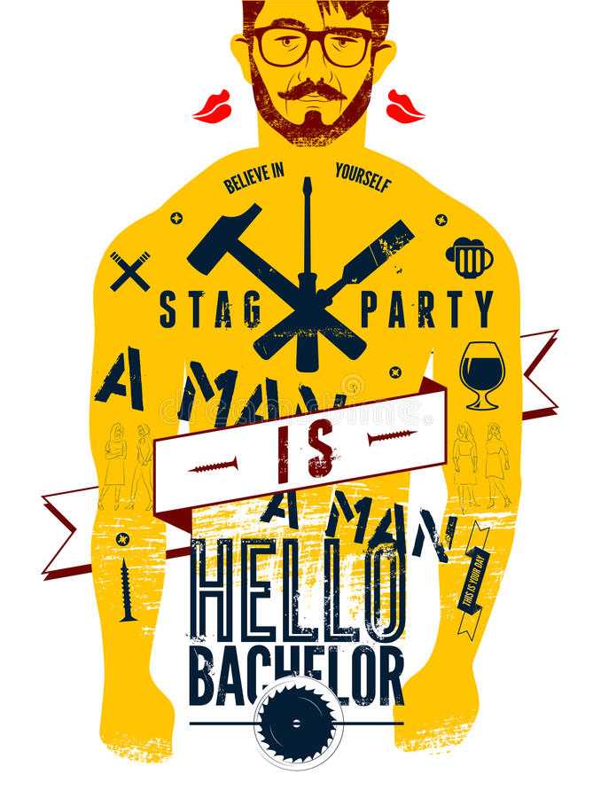 Typographic poster for stag party Hello Bachelor! with tattooed body of a man. Vector illustration. Typographic poster for stag party Hello Bachelor! with vector illustration