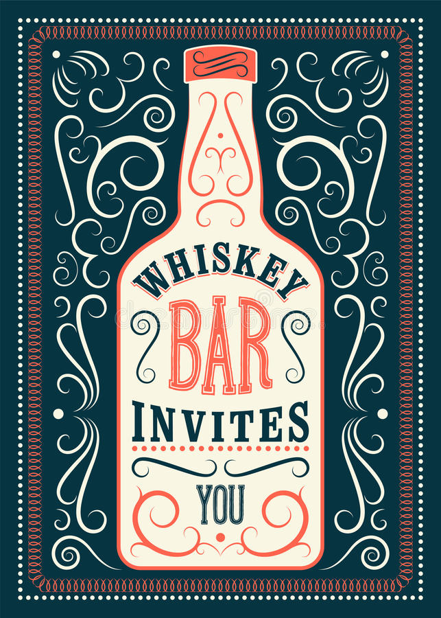 Typographic retro design Whiskey Bar poster. Vintage label with stylized whiskey bottle. Vector illustration. Typographic retro Whiskey Bar poster. Vintage vector illustration