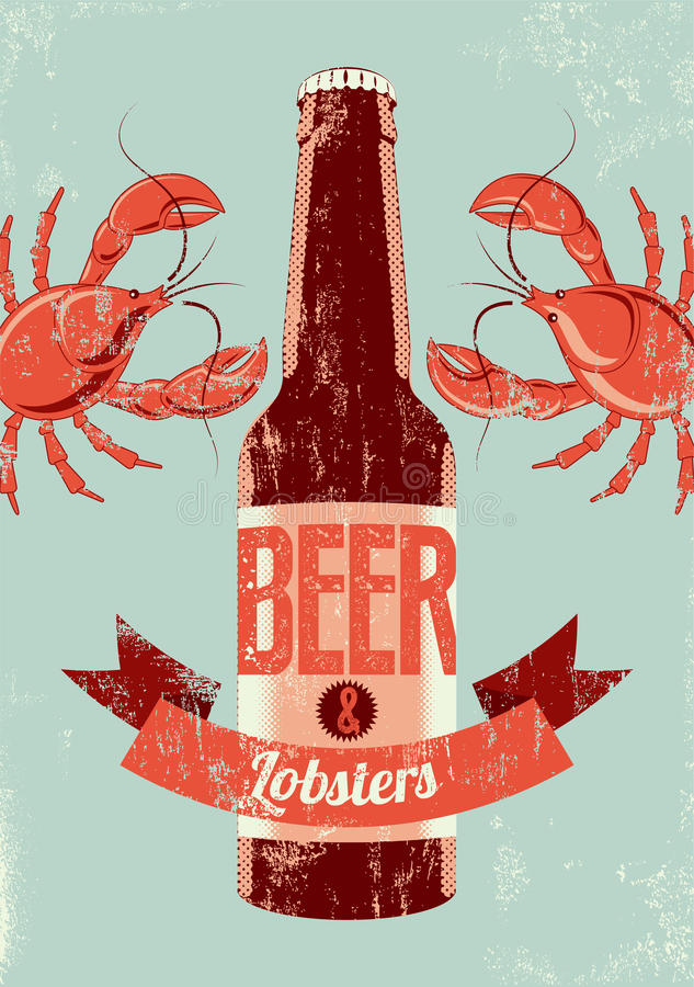Typographic retro grunge beer poster with lobsters. Vector illustration. Typographic retro grunge beer poster. Vector illustration stock illustration