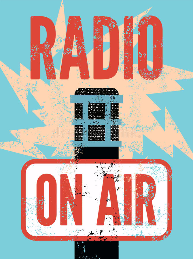 Typographic retro grunge radio station poster. Microphone On air. Vector illustration. Typographic retro grunge radio station poster. Microphone On air stock illustration