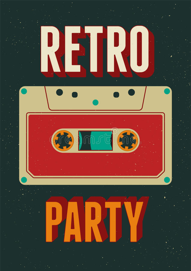 Typographic Retro Party poster design with an audio cassette. Vintage vector illustration. Typographic Retro Party poster design with an audio cassette stock illustration