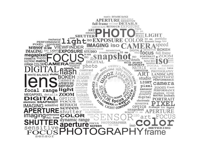Typographic SLR camera. Photography concept vector illustration