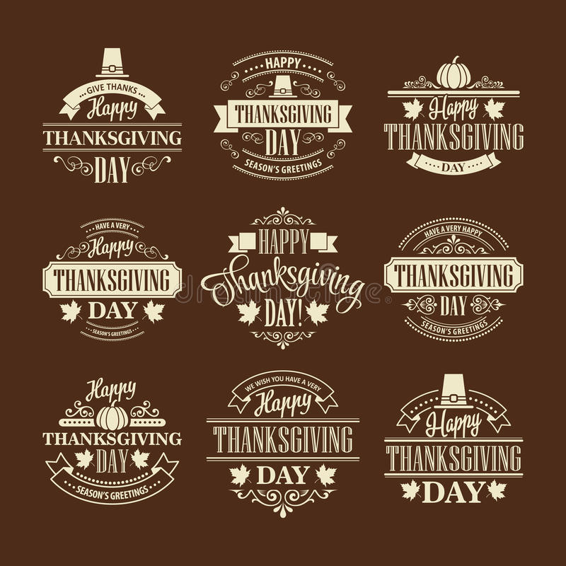 Free Typographic Thanksgiving Design Set. Vector Royalty Free Stock Image - 60496316