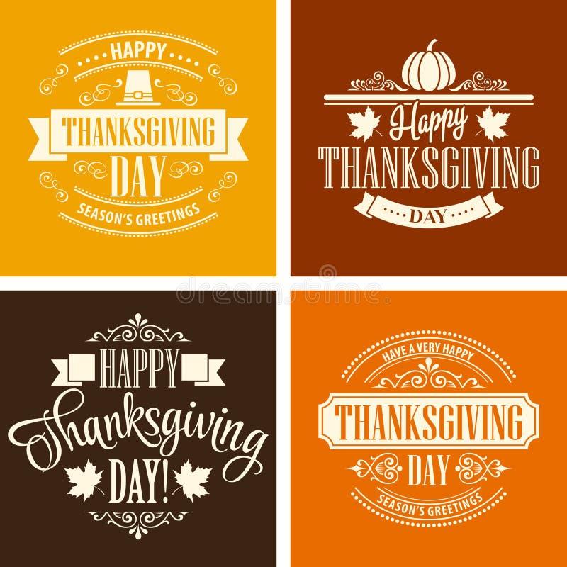 Typographic Thanksgiving Design Set. Vector. Illustration EPS 10 royalty free illustration