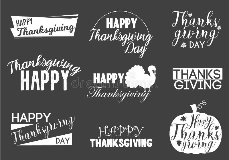 Typographic Thanksgiving text design set holiday autumn season traditional typography badge illustration. Typographic Thanksgiving logo design set holiday vector illustration