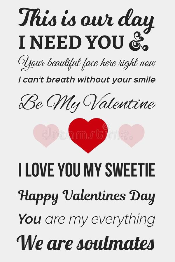Typographic Valentine picture. Including soft grey, red and dark grey colors stock illustration