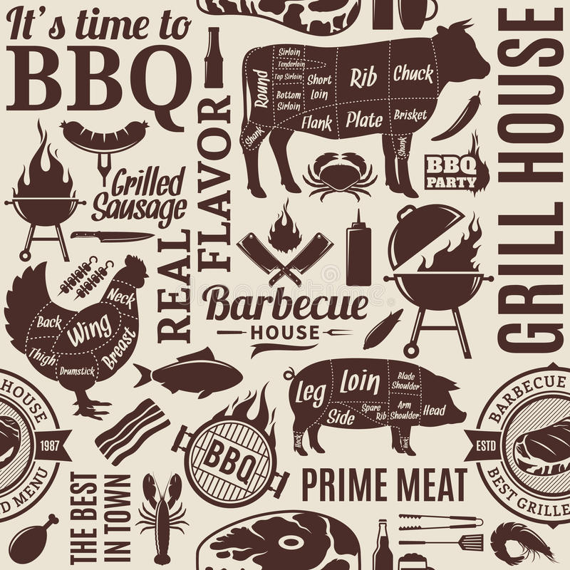 Typographic vector barbecue seamless pattern or background. BBQ, meat, vegetables, beer, wine and equipment icons for cafe, bar and restaurant menu, brandign royalty free illustration