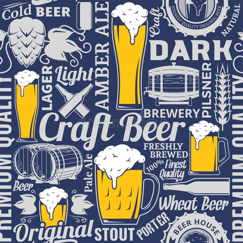 Typographic vector beer seamless pattern or background. Beer icons and design elements for beer house, bar, pub, brewing company branding and identity royalty free illustration