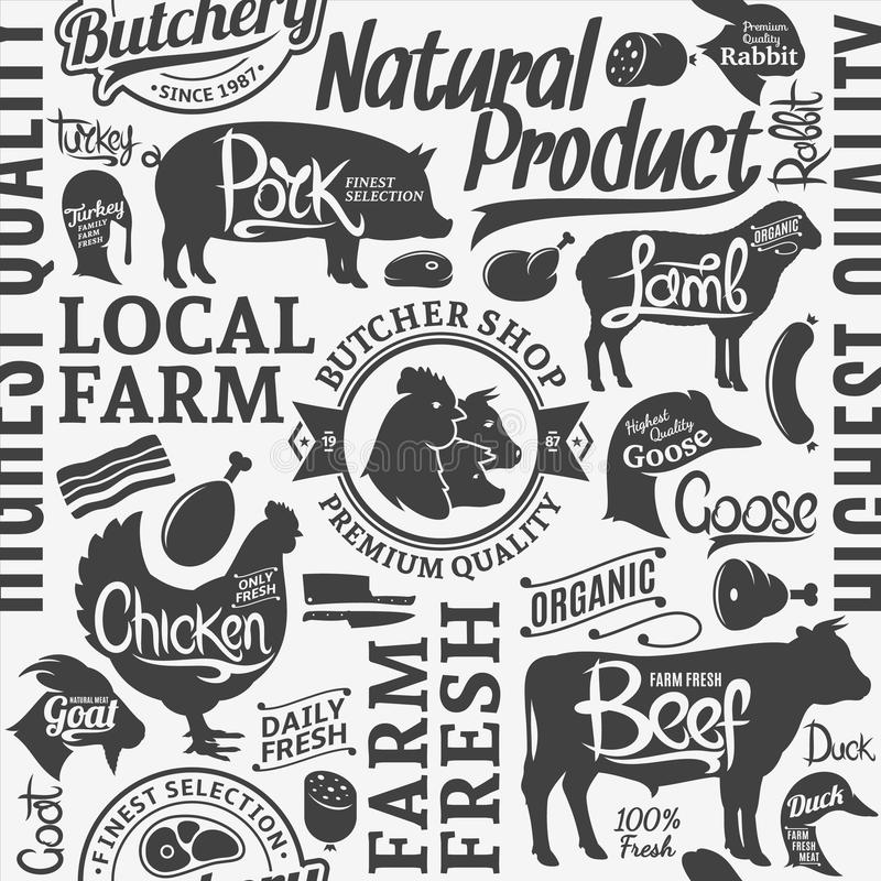 Typographic vector butchery seamless pattern or background. Farm animals icons and butcher shop design elements for groceries, meat stores, packaging and royalty free illustration