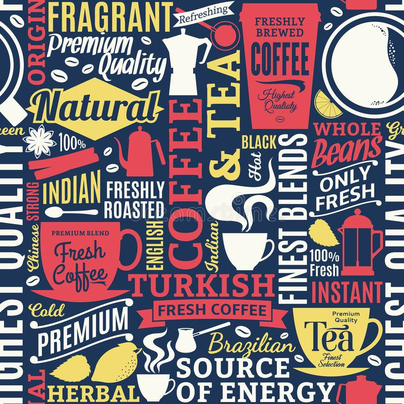 Typographic vector coffee and tea seamless pattern or background. Mugs, beans and equipment icons for coffeehouse, espresso bar, restaurant, cafe, packaging stock illustration